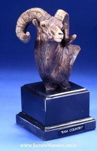 """Bighorn Sheep, """"Ram Country"""" Bust, Bronze Sculpture - Ram Country (Bust)"""