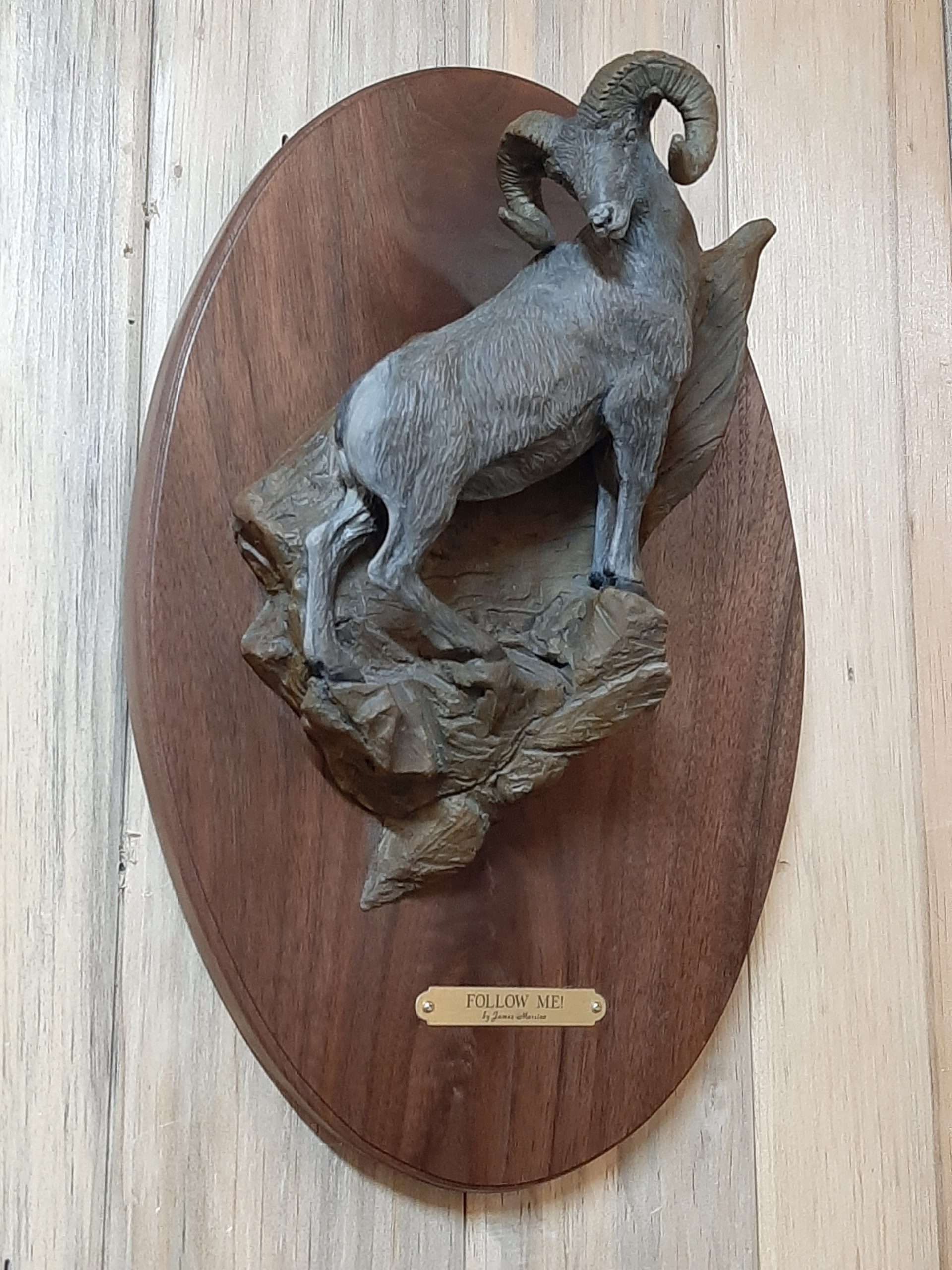 """""""Follow Me"""" BY James Marsico Rocky Mountain Bighorn Sheep 16"""" Tall X 10' """" Wide. Limited Edition of 25 High relief that will hang on the wall"""